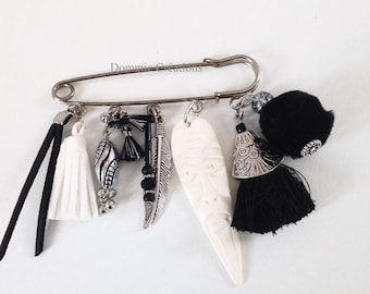 Brooch charms black and white - ethnic - handmade