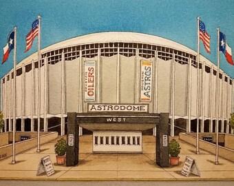 Astrodome etsy astrodome houston texas watercolor painting print astrodome painting houston art malvernweather Choice Image