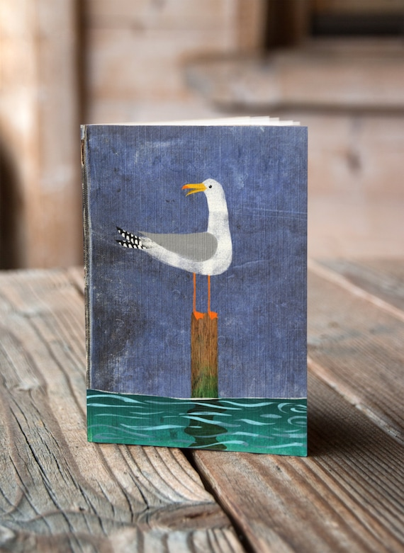 A6 Seagull on a Post - Notebook / Sketchbook / Journal