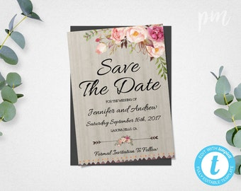 Bohemian Save The Date Template, Floral Boho DIY Save The Date Card, Instant Download Save the Date Invite, Engagement Template