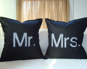 Custom Set of Mr. and Mrs. Pillow Covers
