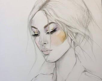 Retro Beauty Original Watercolor Painting