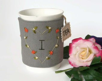 Tea Mug  Cozy in Grey Linen , Mug Warmer I love Tea Silk Embroidered,  Personalisable Mug Cozy