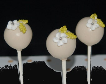 Cake Pops, Elegant Cake Pops, Flower Cake Pops, Baby Shower Cake Pops