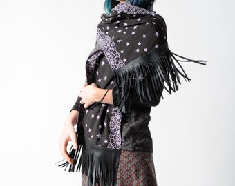 Black fringe scarf with purple stars, Leather and fabric scarf, stars and lace, Fringed scarf, Fall fashion scarf, Gift for women, MALAM
