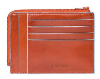 Piquadro Blue Square Münzbörse Credit Card Wallet Orange PU1243B2R/AR NEU