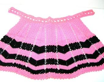 Vintage Crocheted Apron, Pink And Black Chevron Design, Hostess Apron