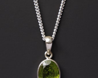 Mens silver pendant etsy peridot necklace mens necklace sterling silver mens chain necklace oval green peridot pendant genuine raw peridot necklace for men aloadofball Image collections