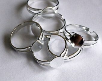 10 Silver Ring Bases, Ring Bases Adjustable Glue Pad F 20 015