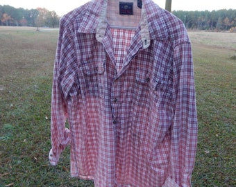 Distressed flannel plaid Wrangler shirt - recycled bleached dipped splattered - trendy - vintage worn style - Size L (men's / unisex) (S19)