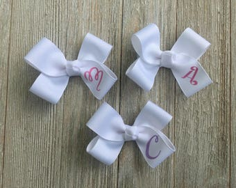 "Monogrammed Hair Bow,Baby Hair Bows,Toddler Hair Bows,Pigtail Hair Bows,3 Inch Hair Bows,You Choose ""1"" Hair Bow/Letter"