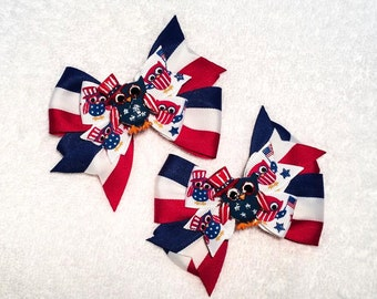 """4th of July Owl Hair Bow Set - Set of 2 4"""" Stacked Boutique Pinwheel Bows w Owl Resin Centers on Lined Clip - Independence Day - Flag Day"""
