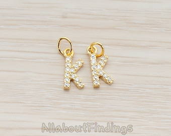 PDT150-K-G // Glossy Gold Plated Cubic Zirconia Setting Initial Pendant, 1Pc