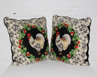 Vintage Rooster Chicken Embroidered Pillow Case ( Two )