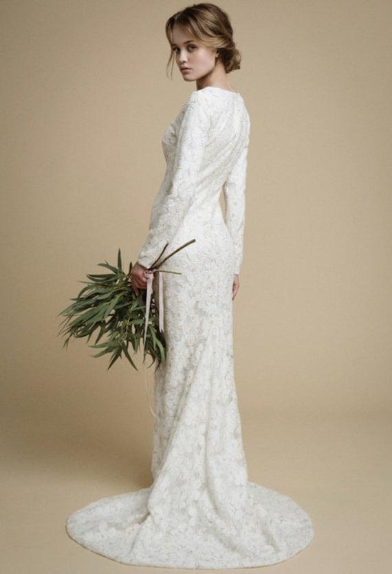 Utta long sleeves wedding dress elegant tight fit wedding like this item junglespirit Gallery