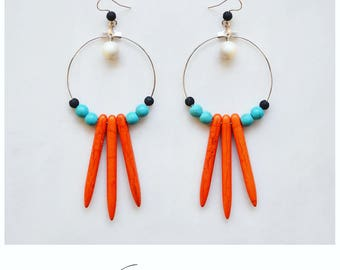 CGC032 - Tribal inspired minimal silver earrings with orange and turquoise howlite stones, black lava and white pearls.