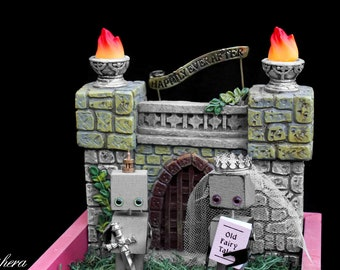 Robot Medieval Fairy Tale Castle Wedding Cake Topper, Prince and Princess Robot Sculpture, Steampunk Gift, LED Interactive