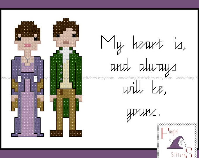 Jane Austen's Sense and Sensibility Characters and Quote cross stitch pattern - PDF pattern - INSTANT Download