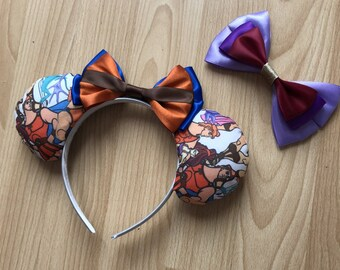 Hercules inspired Mickey/Minnie Disney ears featuring Hercules, Megara, Pain and Panic