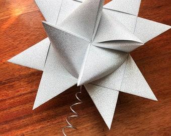 "10"" Christmas Tree Topper Origami Star ~MirriSparkle Silver Glitter"