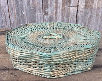 8 sided vintage wicker sewing basket