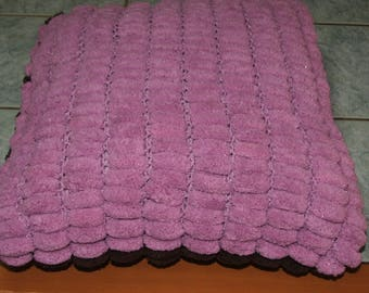 Woolen pillow 100% polyester Purple 1 side, 1 chocolate side tassel - handmade