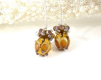 sra artisan lampwork glass headpins set flameworked pattylakinsmith patty Lakinsmith matched pairs amber lavender handmade