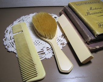 Vintage Vanity - Dresser Set - Hairbrush, Comb and Toothbrush Holder - Celluloid - Bakelite