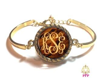 Faux Tortoise Shell Monogram Bracelet Style 493