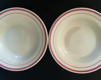 """Iroquois Diner Restaurant Hotel China 8-3/4"""" Soup Bowls (Set of Two) Iro-Tan with Dark Rose Bands in Very Good Vintage Condiition"""