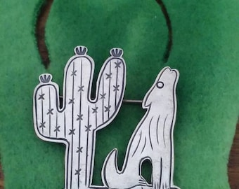 Vintage Sterling Jewelry Pin Wolf Coyote Howling Under The Cactus Vintage Sterling Brooch Signed D Lucas 925 SouthWest Jewelry Retro Pin