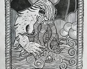 Call of Cthulhu Linoprint