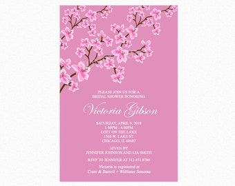 Cherry Blossom Bridal Shower Invitation, Mauve Pink, Personalized, Printable or Printed