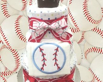 Baseball Sports Themed 3 Tier Baby Shower Diaper Cake