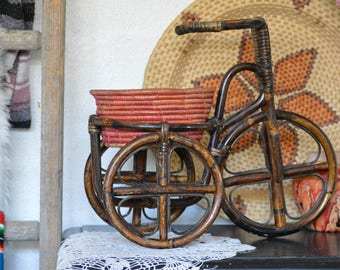 Vintage Rattan Tricycle Plant Holder • Rattan Plant Stand with Coil Basket