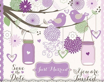 Wedding birds clipart flower, flower clipart, bridal clipart, wedding invitation, Hand Drawn Mason Jars, Purple, lavender green