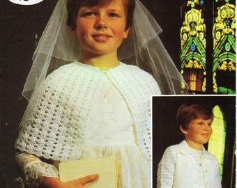 "Vintage childrens crochet cape cardigan Crochet pattern PDF download DK / 4ply girls cape bridesmaid Confirmation 26-30"" Instant Download"