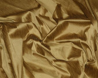 "55"" Wide - GOLD Premium Faux Silk Fabric - Shantung Dupioni Faux Silk Fabric - By the Yard"