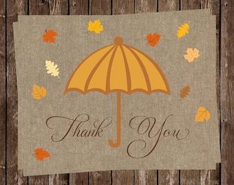 Bridal Shower Thank You Cards, Wedding, Birthday, Umbrella, Orange, Fall, Autumn, Leaves, Shower, Rain,, 20 Folded Cards, FREE Shipping