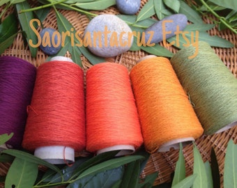 "Organic cotton and cottonlin 5 cone yarn set ""Ripening Papaya's"" : saorisantacruz"