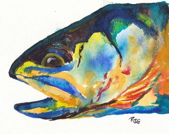 "Catch and Release Series: Electric Trout watercolor Print 8.25"" x 8.25"""