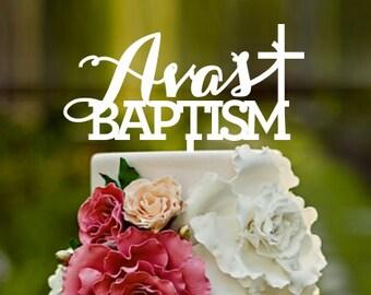 Christening cake topper with cross, cake topper, baptism cake, Customise message name cake topper, baby's christening, baby's baptism