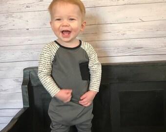 Raglan romper- Baby romper- Toddler romper- Baby boy romper-  Harem romper- Charcoal gray romper-