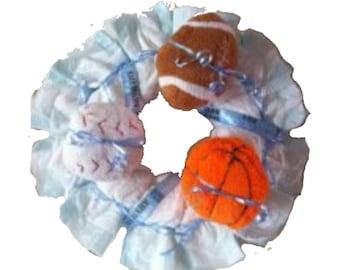 Baby Shower Diaper Wreath- Plush Sports Football, Baseball, Basketball, Baby Boy Diaper Wreath, baby shower decoration, baby shower gift