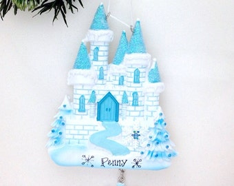 Princess Castle Personalized Christmas Ornament / Blue and White Castle / Ice Castle Ornament / Little Girl / Princess