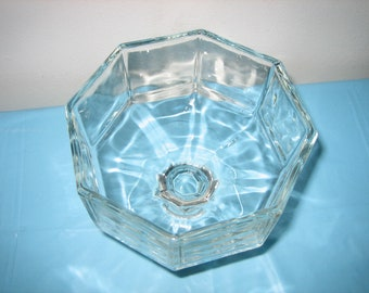 Vintage Crystal Compote Dish - Eight Sided Crystal Pedestal Bowl - Crystal Wedding Decor