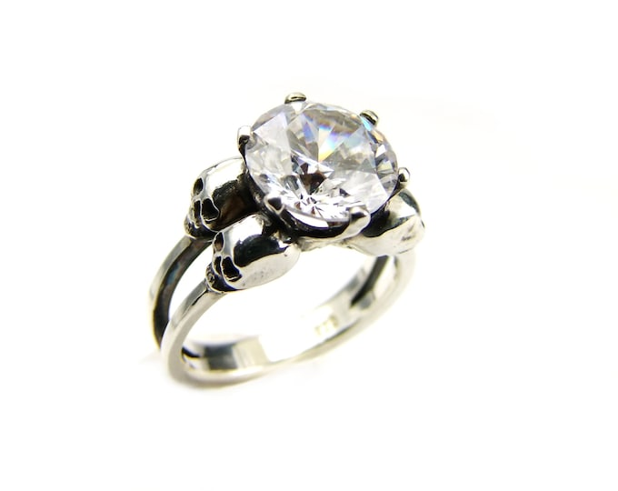 Double Skull Engagement Ring with White Simulated Diamond