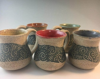 Pottery Coffee Mugs, Pottery Mug, Stoneware Mugs, Sgraffito, Handmade Mugs, Blue, Green, Yellow,  Red, Purple, Pottery, Christmas Present