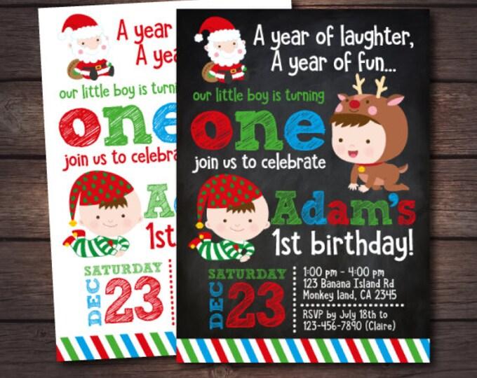 Christmas Birthday Invitation, Christmas 1st birthday Invitation, Little Santa Invitation, Christmas Invitation, DIGITAL
