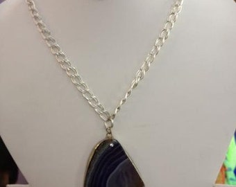 Black Agate Pendant with Silver Plated Chain